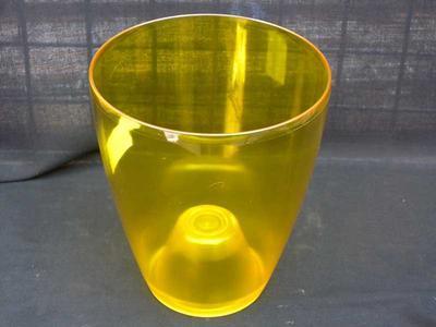 Obal na květináč kulatý - transparentní, žlutý - 2